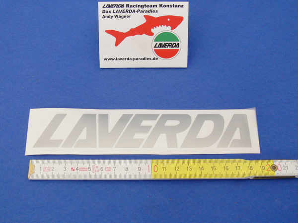 Sticker LAVERDA silver 18.5 x 3cm (separate letters can be lacquered)