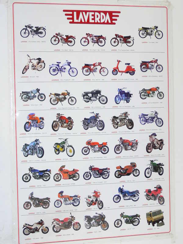 Poster with 40 LAVERDA models from 1950 to 1993: This great high-gloss colour poster 95 x 64cm. A fantastic addition to every LAVERDA workshop.