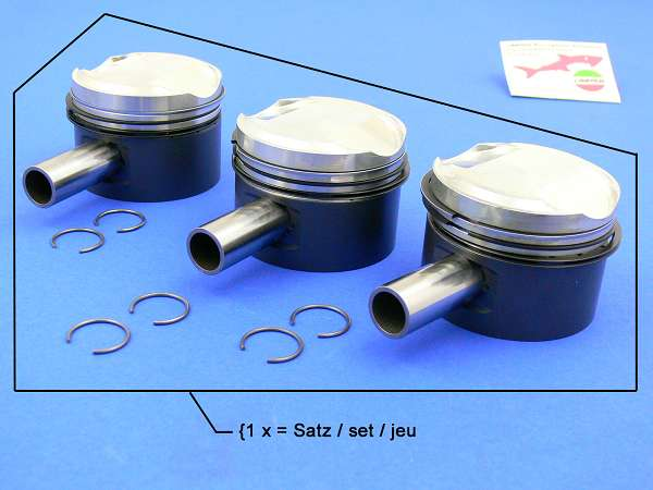 Piston Kit Ø 75.6 (10:1 with 3 x gudgeon pin and rings)