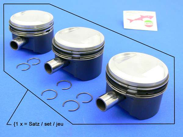 Piston Kit Ø 80,6 (10:1 with 3 x gudgeon pin and rings)