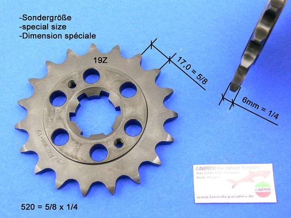 Chain sprocket 19T 5/8 x 1/4 special
